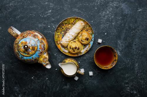 Canvas Prints Bar Tea set. Oriental sweets bakery. Top view. Dark background