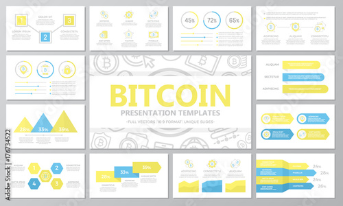 Obraz na plátně  Set of digital money and bitcoin, cryptocurrency elements for multipurpose presentation template slides with graphs and charts