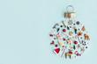 Leinwandbild Motiv Christmas ornament flat lay
