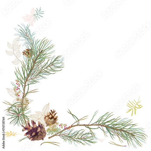 Framework With Pine Branches Cones Needles Decorative Twigs And