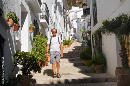 Photo Male tourist in Frigiliana, Andalusia.