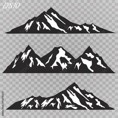 Set Of Mountain Ridges Silhouettes On White Background