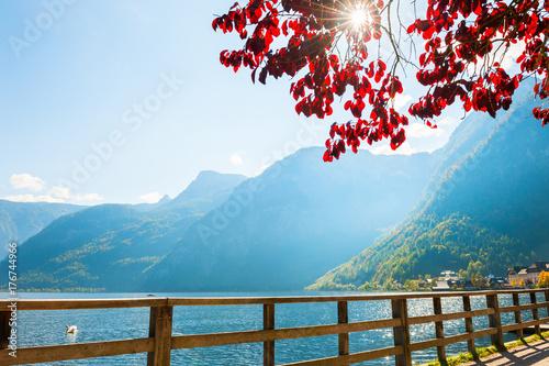 Zdjęcie XXL Hallstatter jezioro w Hallstatt wiosce, Austriaccy Alps.