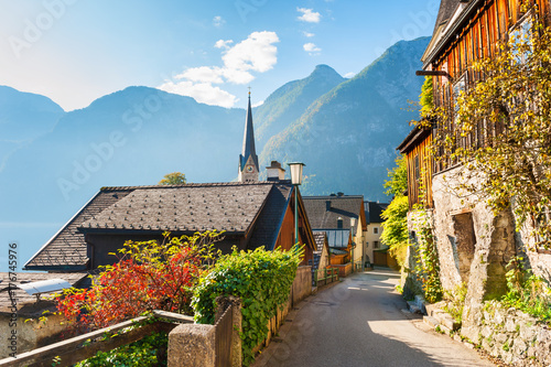 Beautiful street in Hallstatt village in Austrian Alps