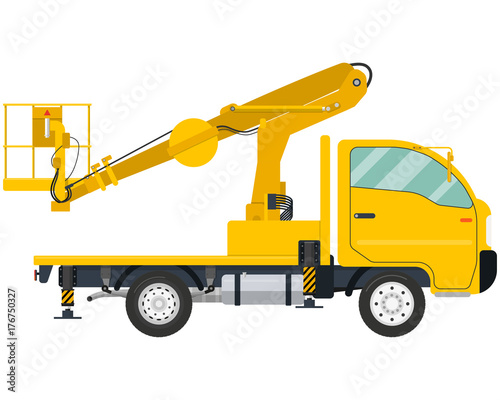 Isolated modern Truck-mounted aerial platform on a white background Canvas Print
