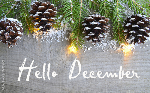 Obraz Hello December.Christmas decoration on old wooden background.Winter holidays concept.Selective focus. - fototapety do salonu