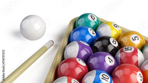 Billiard pool balls pyramid isolated on white - 3d illustration Wallpaper Mural