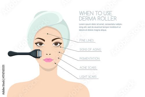 Fotomural  Beautiful woman having rejuvenating derma roller therapy
