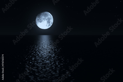 Photo Moonlight path with low fool moon above the sea realistic 3d illustration