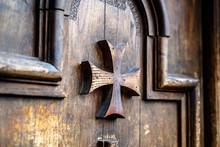 Old Wooden Door With Maltese Crosses