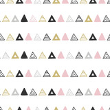 Unique hand drawn seamless pattern with abstract shapes. Vector illustration in monochrome scandinavian style - 176768906
