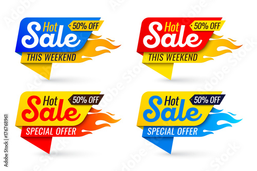 Fotografía  Hot sale price offer deal vector labels templates stickers designs with flame