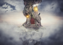 Fairy Tree House On Rock Flying In Fantasy Sky