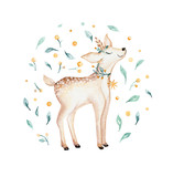 Christmas watercolor deer. Cute kids xmas forest animal illustration, new year card or poster. Hand drawn isolated baby animals. - 176773538