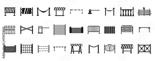 Barrier icon set, simple style Wallpaper Mural
