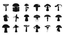 Mushroom Icon Set, Simple Style