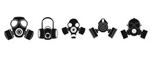 Gas Mask Icon Set, Simple Style