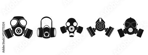 Stampa su Tela Gas mask icon set, simple style