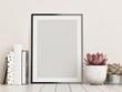 canvas print picture - Mock up frame, hipster background, 3d render, 3d illustration