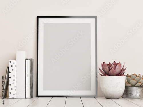 Fotografiet  Mock up frame, hipster background, 3d render, 3d illustration
