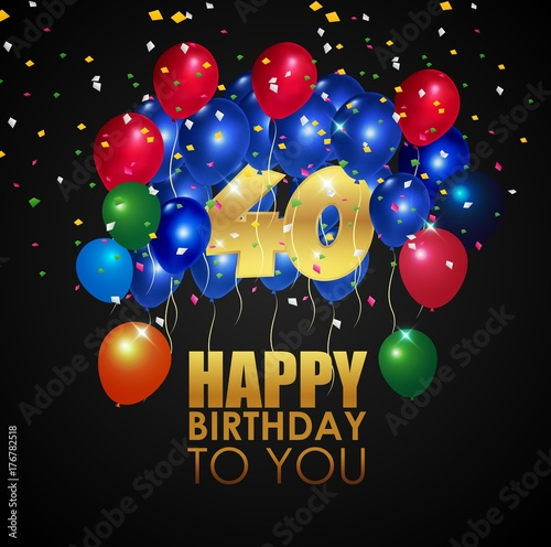 Happy Birthday 40th with golden number and colorful balloons Wallpaper Mural