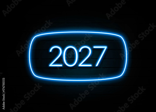 Poster  2027  - colorful Neon Sign on brickwall
