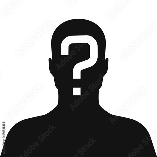 Fotografía  incognito, unknown person, silhouette of man on white background