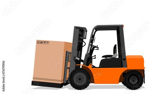 Plakat Odizolowywać forklift ciężarówkę z papierowym pudełkiem na przejrzystym tle