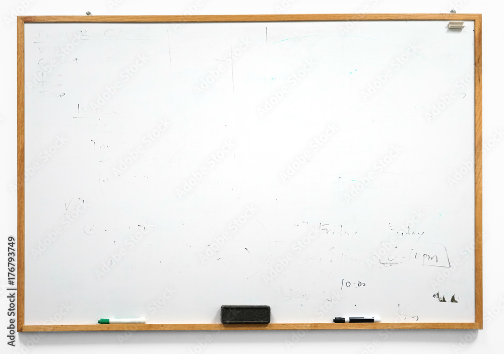 Fototapety, obrazy: Dirty white board isolated on white background