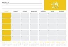 July 2018 Calendar Planner Vec...