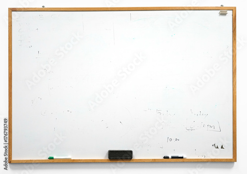 Canvastavla Dirty white board isolated on white background