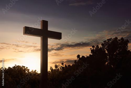 Zdjęcie XXL Przecinający symbol chrześcijanin przy plenerowym