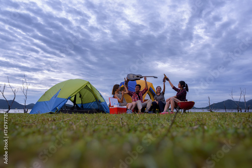 Canvas Prints Camping Group of Young Asian Camper Enjoy Camping Outdoors . Holiday , vacation , summer concept .