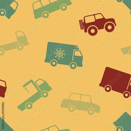Foto op Aluminium Cartoon cars Retro seamless cars pattern.