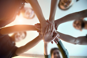 Team Teamwork Join Hands Partnership Concept .