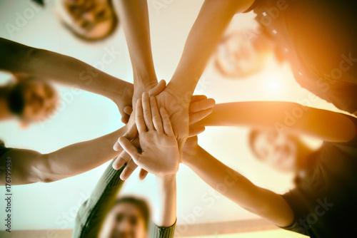 Canvastavla  Team Teamwork Join Hands Partnership Concept .