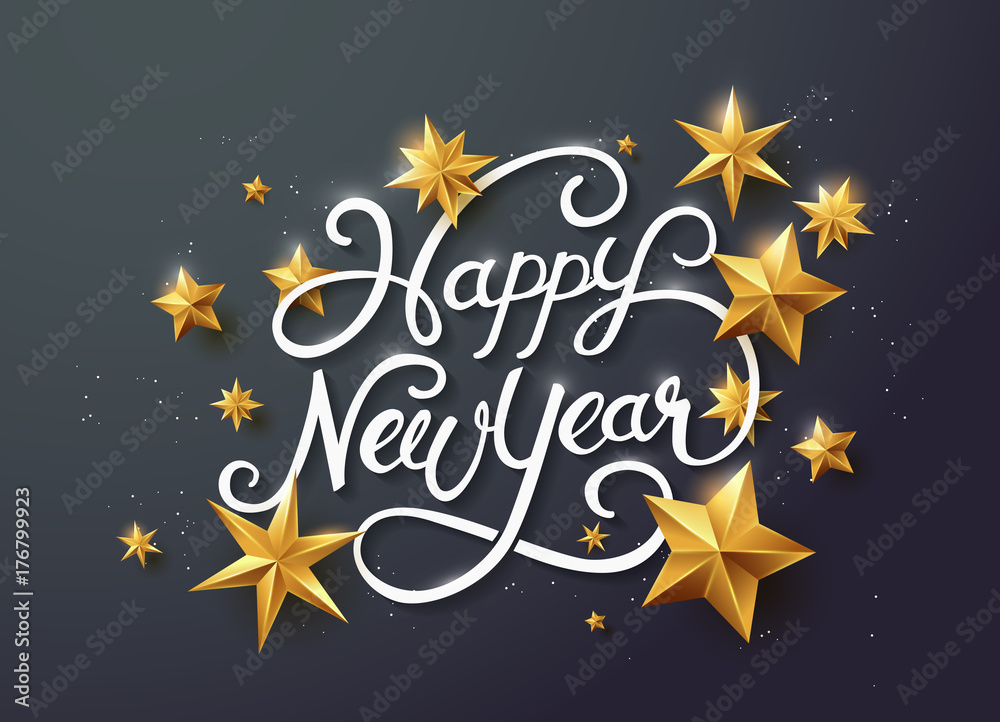 Fototapeta new year with calligraphic text with golden star.Vector illustration template.greeting cards.