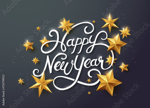 Photo  new year with calligraphic text with golden star
