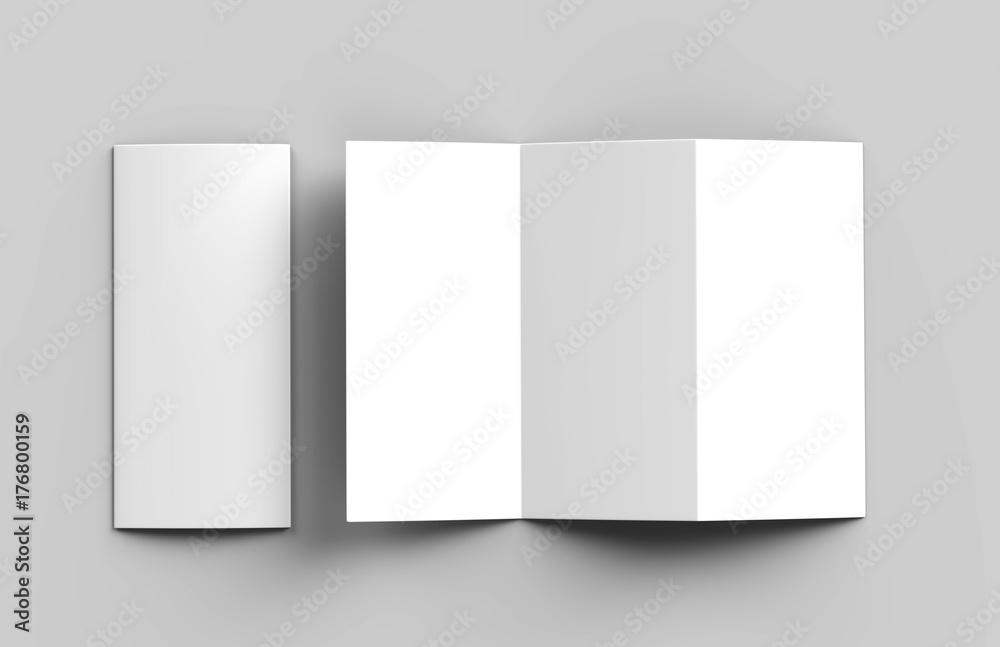 Fototapeta Blank white z fold brochure for mock up template design. 3d render illustration.