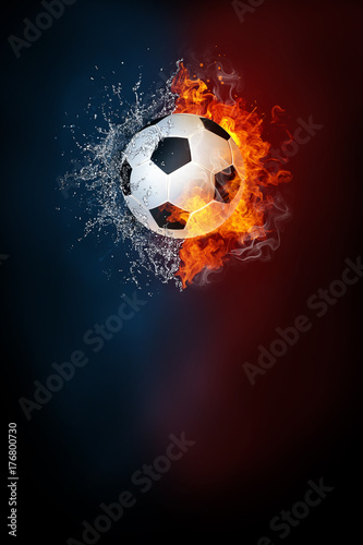 Obraz Soccer sports tournament modern poster template. High resolution HR poster size 24x36 inches, 31x91 cm, 300 dpi, vertical design, copy space. Soccer ball exploding by elements fire and water. - fototapety do salonu