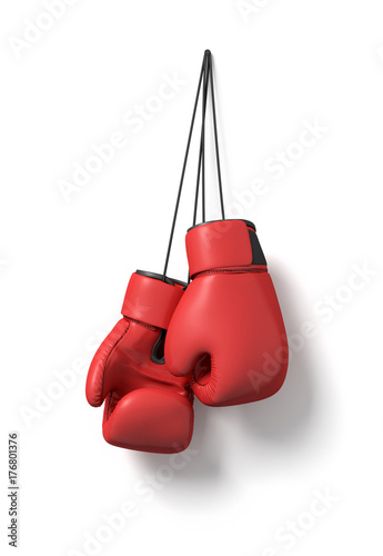 Vászonkép 3d rendering of two red boxing gloves hanging on a long black string on a white background