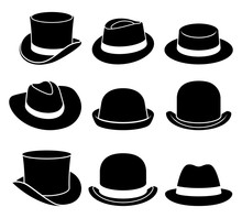 Vintage Hats Icons. Vector Ill...