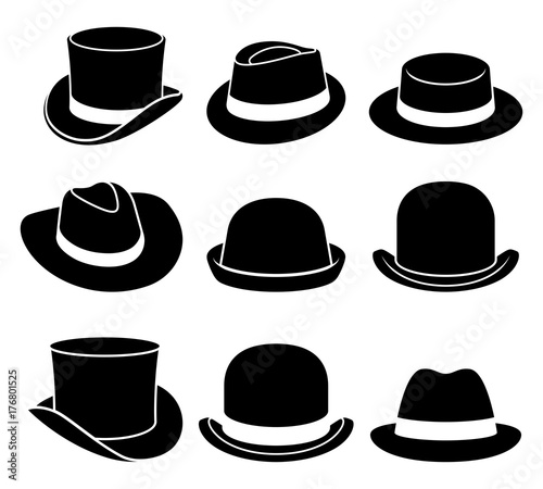 Fototapeta Vintage hats icons. Vector illustration. obraz