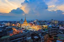 Aerial View Cityscape Wat Trai...