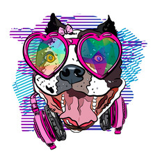 Cool Bulldog Girl With Headpho...