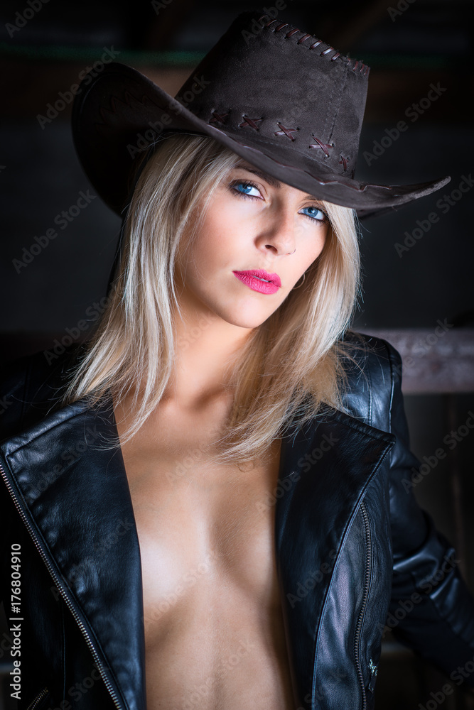 Photo   Art Print Sexy country girl wearing cowboy hat and leather jacket -  portrait in a barn  3c912b9c477e