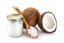 Coconut, Glass Jar And Wooden ...