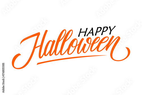 happy halloween card template hand drawn lettering creative text