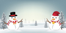 Two Snowman In Forest Snow Win...