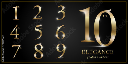 Fotografía Set of Elegant Gold Colored Metal Chrome numbers